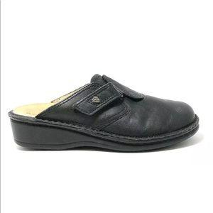 Finn Comfort Black Leather Venice Clog Mule Shoes